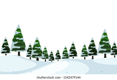 Scenery background of pine trees with snow illustration
