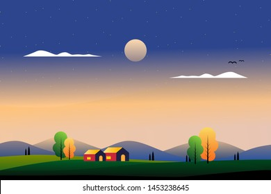 scenery beautiful country side with mountain and sky