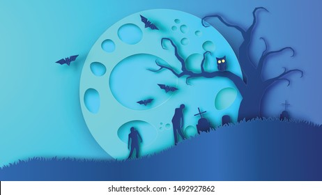 Scenery of desolate cemetery in full moon night with scary atmosphere on Halloween. Graphic design for Halloween. paper cut and craft style. vector, illustration.