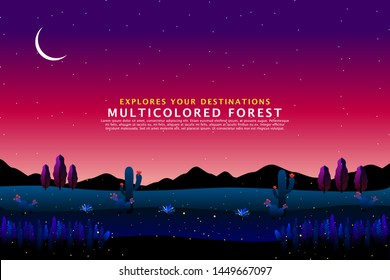 scenery fantasy forest with mountain starry night sky landscape
