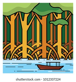 Scenery of green mangrove forest. Vector illustration.