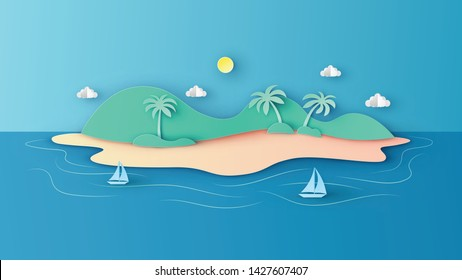 Scenery of the island in sea with sailboat floating in the sea. paper cut and craft style. vector,illustration.