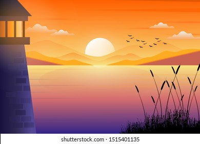 Scenery of lighthouse with colorful beautiful sunset sky and sea landscape