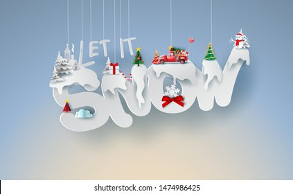 Scenery Merry Christmas and New Year on holidays background with  Paper origami mobile winter snowflakes season.Creative calligraphy text Let it snow of decoration paper art and cut style.vector.