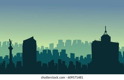 Scenery Mexico city skyline silhouettes