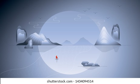 Scenery mountain with new traditional Chinese illustration style
