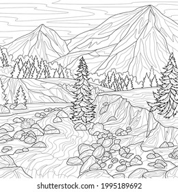 Scenery. Mountains and river.Coloring book antistress for children and adults. Illustration isolated on white background.Zen-tangle style. Hand draw