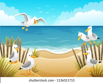 Scenery with seagulls on beach with wood fences and dry grass. Background vector illustration.