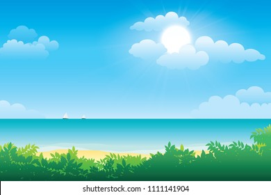 Scenery of seaside and summer beach landscape. Vector seascape background
