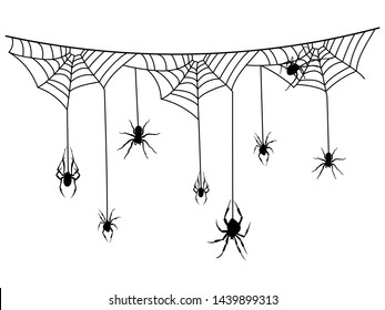 Scenery with spiderwebs and spiders for halloween. Black silhouette of a garland with cobwebs. Windmill illustration of mystical elements for Halloween.