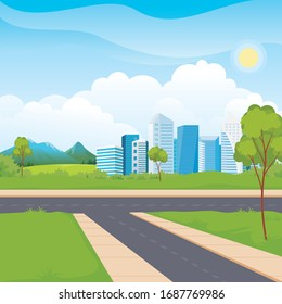 Scenery urban city park skyscraper. modern cityscape downtown flat horizontal vector illustration. with Crossroads, green grass, tree and mountain.