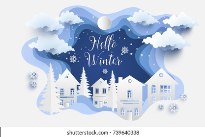 scenery in the winter with homes and snowy hills. design paper art and crafts