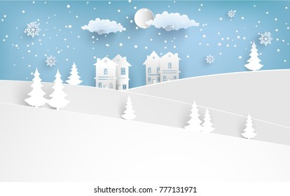 scenery in the winter with homes and snowy hills. design paper art