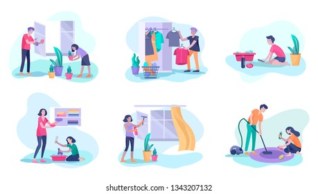 Scenes with family doing housework, kids helping parents with home cleaning, washing dishes, fold clothes, cleaning window, carpet and floor, wipe dust, water flower. Vector illustration cartoon style