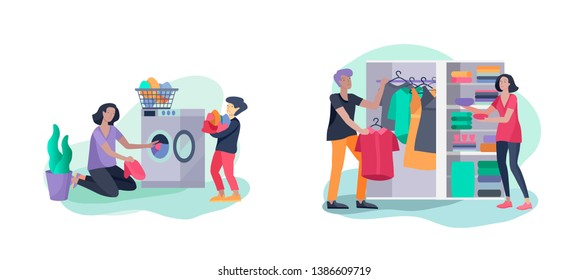 Scenes with family doing housework, kids helping parents with home cleaning, fold clothes in wardrobe, washing clothes in machine, wipe dust. Vector illustration cartoon style
