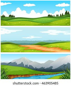 Scenes with field and road in countryside illustration