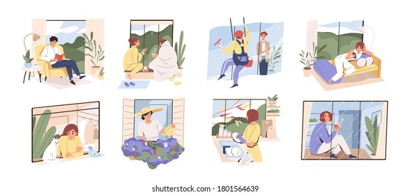 Scenes with people spend time at home near panoramic window. Set of woman and man dreaming, watering flowers, relax in hygge interior rooms. Collection of flat vector illustration isolated on white