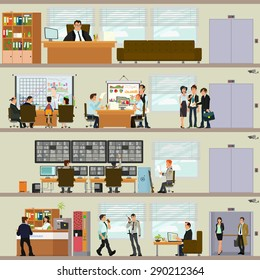 scenes of people working in the office. Interior office. Vector illustration in a flat style. open space office building with working people.