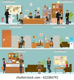 scenes of people working in the office. Interior office. Vector.