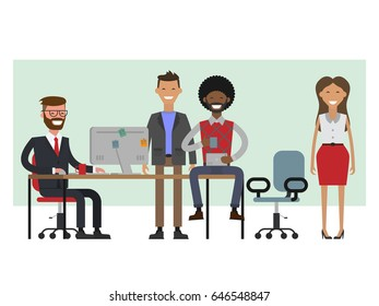 Scenes of people working in the office. Interior office. White background. Business people set. Vector illustration flat. Hipsters team