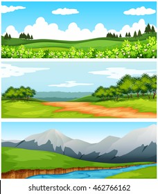 Scenes with trees and fields illustration