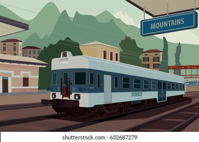 Scenic area with old retro train at railway station of European village. In the background the natural mountain landscape view. Realistic flat style. Vector illustration