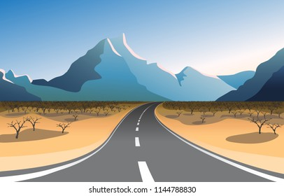Scenic mountain landscape with asphalt road passing through desert to mountains. Vector illustration