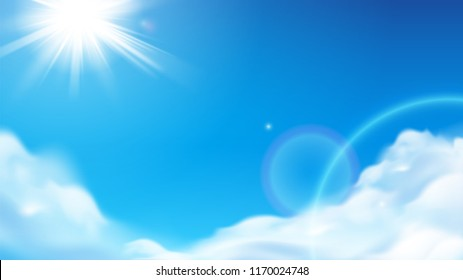 Scenic shining sun with fluffy clouds. Blue sky with glowing beams or ray bleak. Sunny cloudscape at atmosphere. Summer and spring weather background, heaven theme