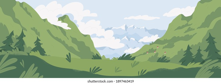Scenic summer landscape with mountains covered with green grass and trees. Panoramic view of distant mounts range and cloudy sky. Picturesque nature scene. Colored flat textured vector illustration