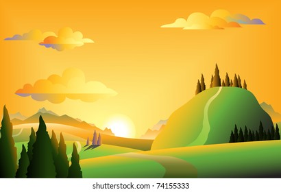 Scenic sunset landscape vector illustration