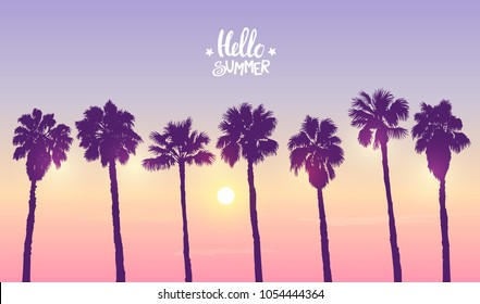Scenic sunset on tropical beach with palm trees. Vector illustration