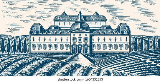 Scenic view of vineyards. Panoramic vine plantation in Chianti. French or Italian engraved landscape. Castle winery and villa, Rural Fields and hills of Tuscany. Hand drawn monochrome vintage sketch.