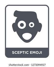 sceptic emoji icon vector on white background, sceptic emoji trendy filled icons from Emoji collection, sceptic emoji simple element illustration