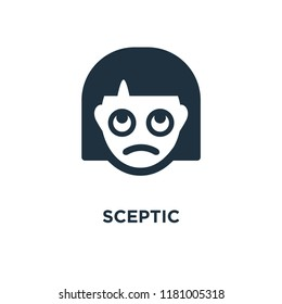 Sceptic icon. Black filled vector illustration. Sceptic symbol on white background. Can be used in web and mobile.