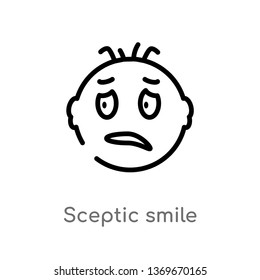 sceptic smile vector line icon. Simple element illustration. sceptic smile outline icon from user interface concept. Can be used for web and mobile