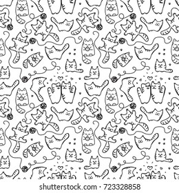 Scetched doodle black and white seamless pattern with cats. Emoticat collection hand drawn imitation. Prankster pet vector illustration