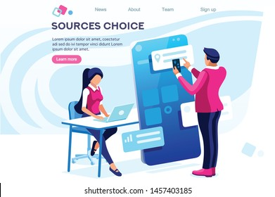 Schedule Appointment. Office. Choosing Application. Touchscreen Online Material. Application Meeting Concept for Web Banner Hero Images. Flat Isometric Vector Illustration Isolated on White Background