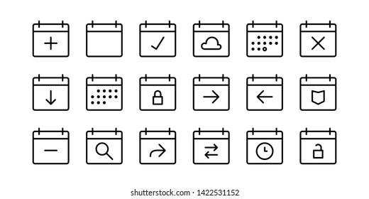 Schedule Calendar Line Icon Set