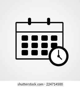 Schedule icon and clock. Vector illustration eps10.