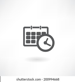 schedule icon - office clock with calendar