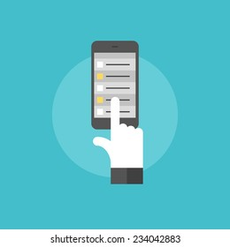Schedule list on mobile phone, hand touch selecting task on smartphone organizer application. Flat icon modern design style vector illustration concept.