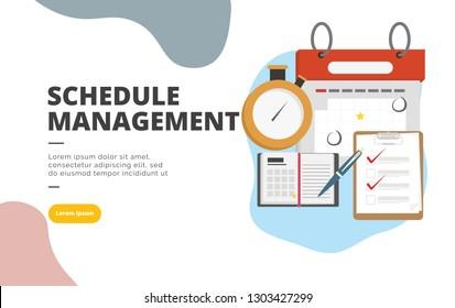 Schedule Management flat design banner illustration concept for digital marketing and business promotion