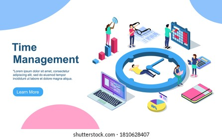 Schedule management vector illustration concept, group of young people make a plan can use for, landing page, template, ui, web, mobile app, poster, banner, flyer EPS