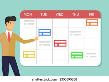 Schedule planner concept vector illustration of young man standing near big calendar and planning working week