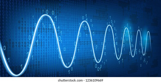 Schedule tracking of processor status, disk monitoring, CPU indicator or RAM on binary code background. Graph harmonic damped oscillations.