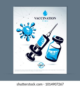 Scheduled vaccination theme presentation flyer. Vector graphic illustration of medical bottle and syringe for injections.