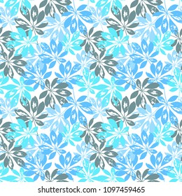 Schefflera leaf seamless hand drawn pattern for textile, covers, wallpapers, surface design. Tropical forest summer illustration. Vector texture.