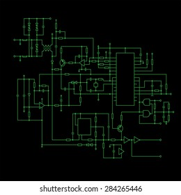 schematic diagram with Black background- project of electronic circuit - graphic