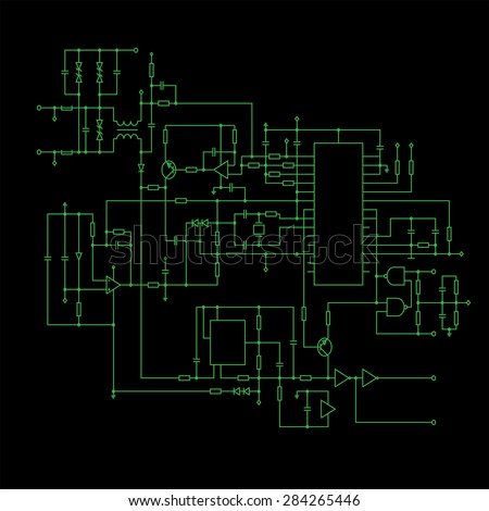Schematic Diagram Black Background Project Electronic Stock Vector ...