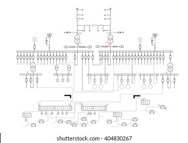 Schematic Diagram Power Supply Power Circuit Stock Vector (Royalty ...